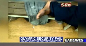 Olympics-Security-Fail-Guard-Caught-Sleeping-and-Snoring-on-Camera