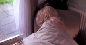 Sexy-Blonde-Woman-Caught-Snoring